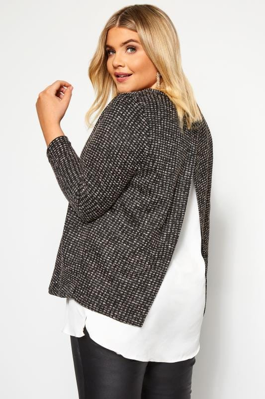 Plus Size Knitted Tops & Sweaters Grey Textured Double Layered Knitted Top