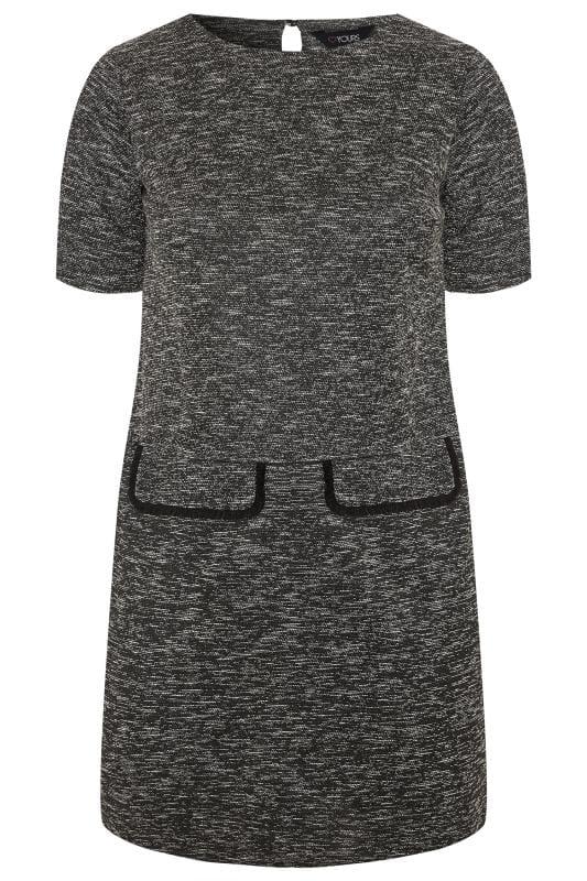 Grey Textured Mock Pocket Tunic