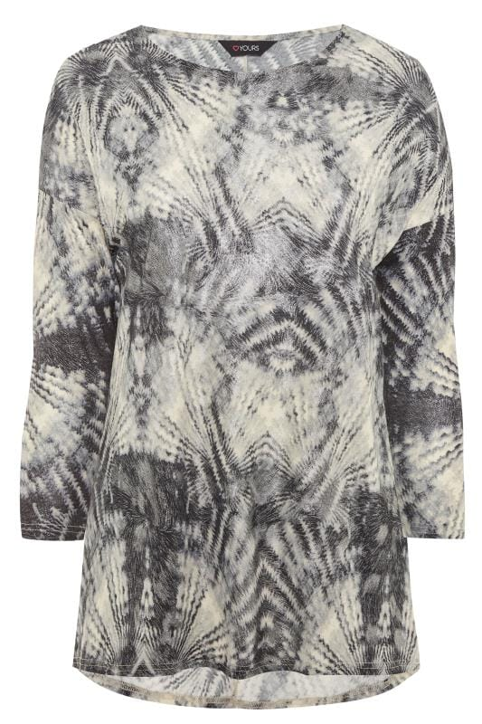 Grey Tie Dye Sparkle Dipped Hem Top