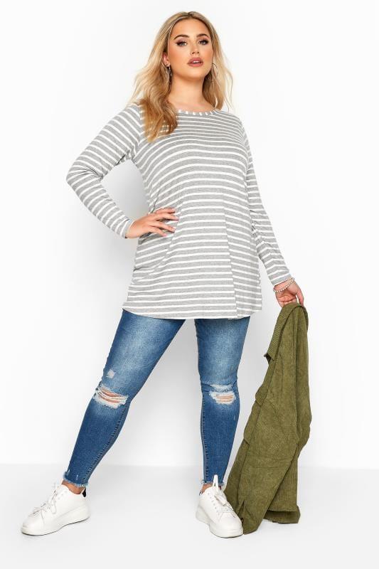 Grey & White Striped Jersey Top