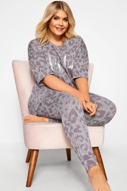 Plus Size Loungewear Grey 'Wild Thing' Foil Slogan Animal Print Lounge Top