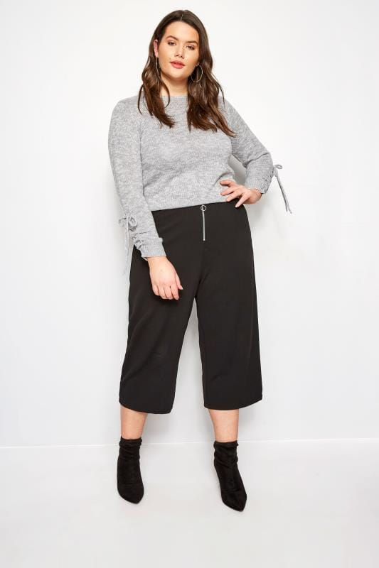 Grey Ruched Sleeve Lace Jumper