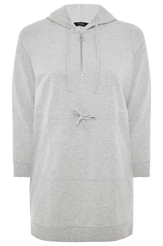 Grey Zip Longline Hoodie