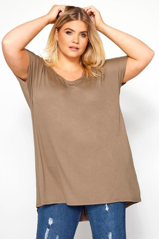 Plus Size T-Shirts Taupe Dipped Hem Top