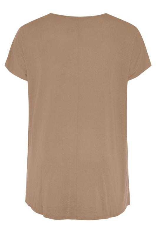 Brown Dipped Hem Top