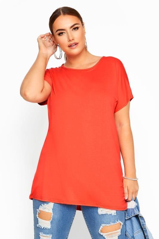 Plus Size T-Shirts Orange Dipped Hem Top