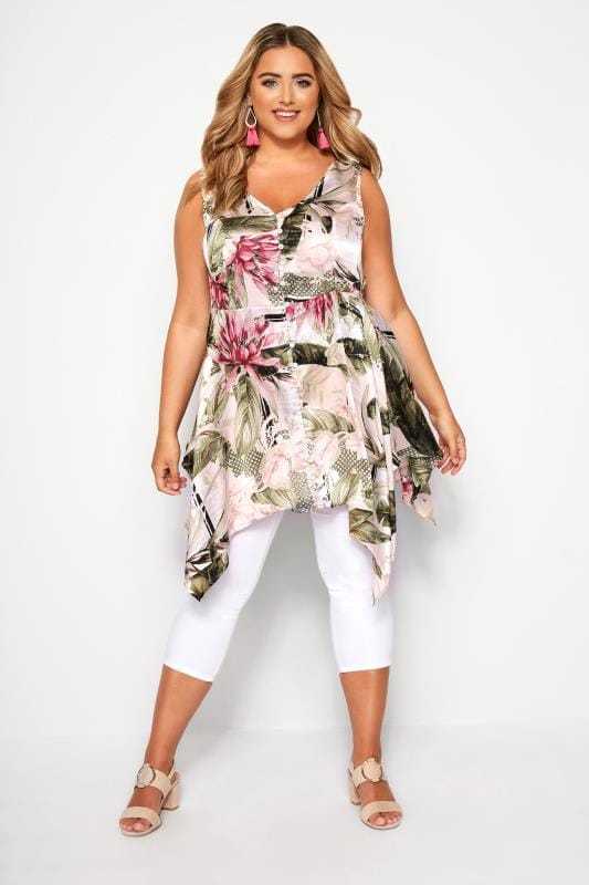 Pink & Green Floral Satin Button Top