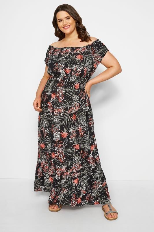 Plus-Größen Maxi Dresses Black Palm & Animal Bardot Maxi Dress
