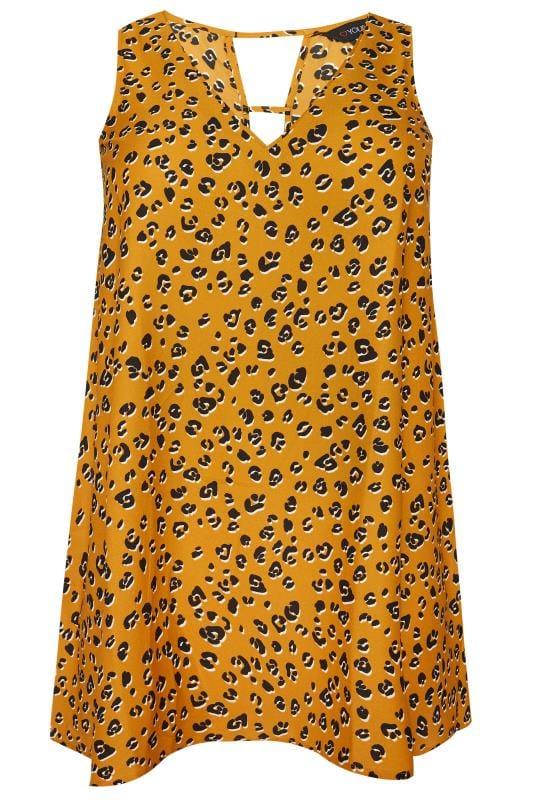 Mustard Leopard Print Swing Vest Top