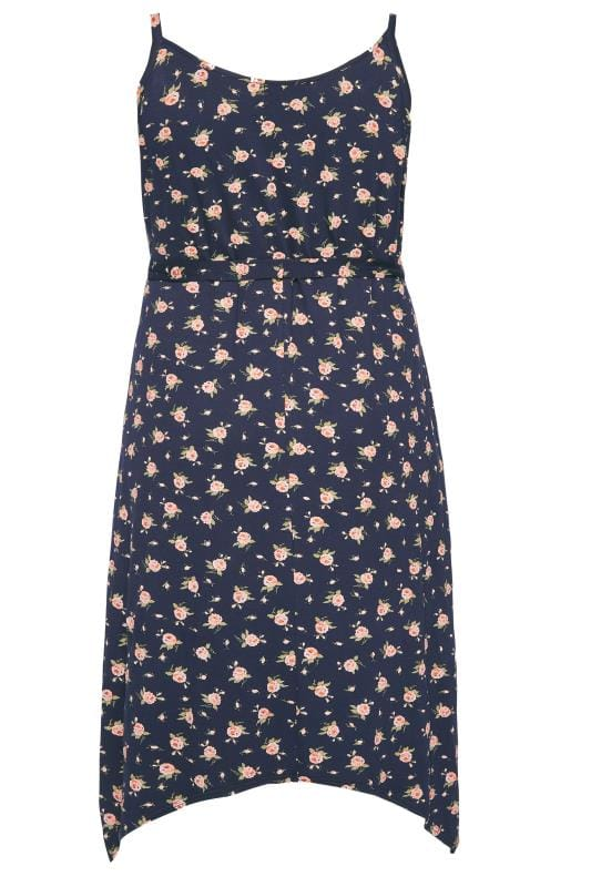 Navy Floral Hanky Hem Wrap Dress