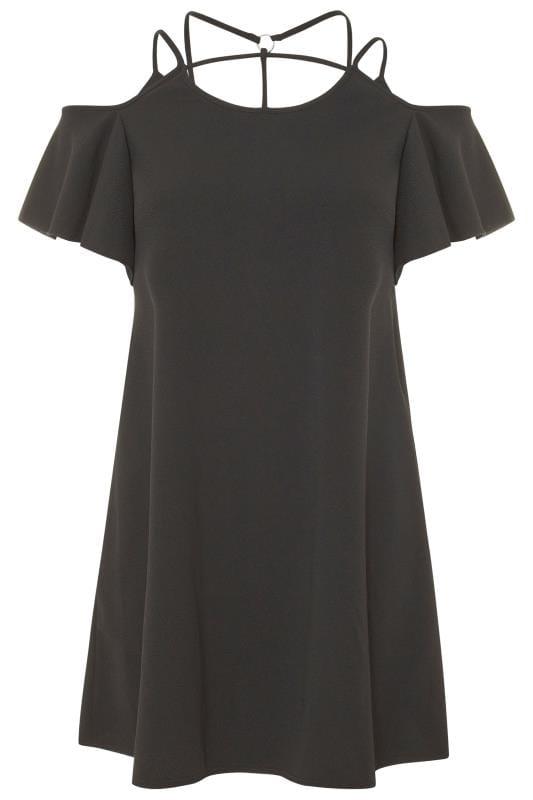 LIMITED COLLECTION Black Harness Cold Shoulder Dress