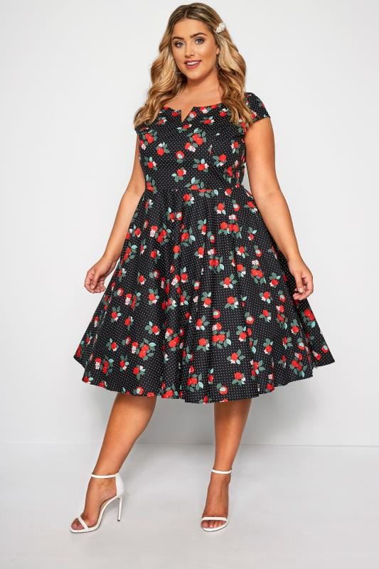HELL BUNNY Black & Red 'Apple Blossom' Apple & Polka Dot Dress