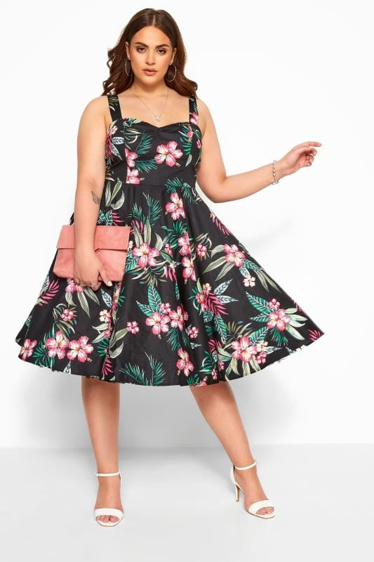 Plus Size Skater Dresses HELL BUNNY Black Floral 'Kalani' Skater Dress