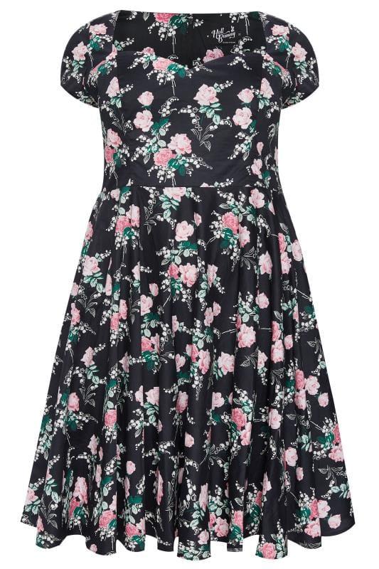 HELL BUNNY Black Floral Lily Rose Skater Dress
