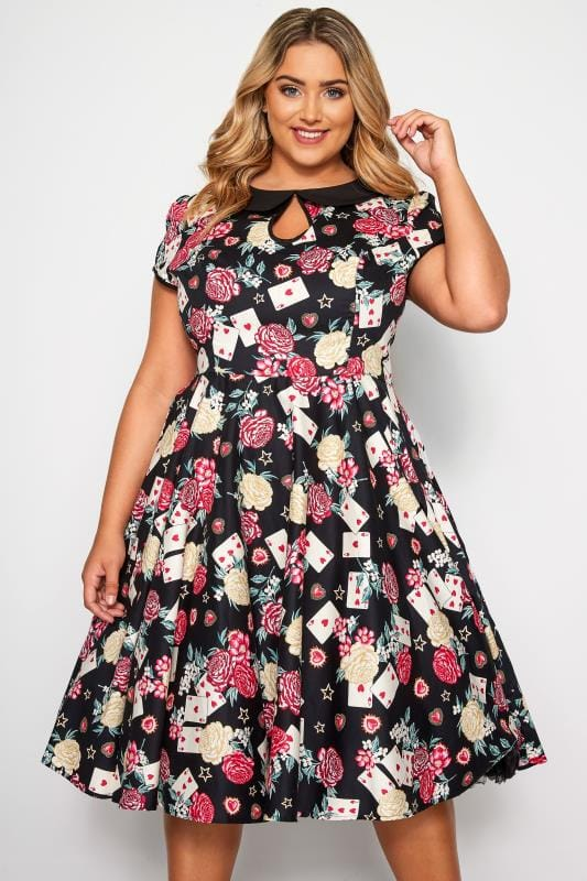 Plus Size Party Dresses HELL BUNNY Black Queen Of Hearts Dress