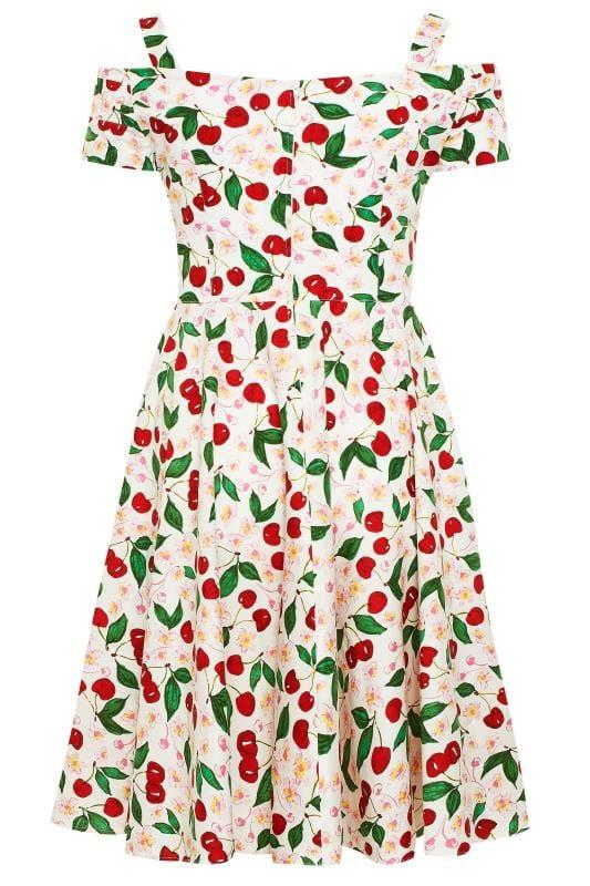 HELL BUNNY White & Red Cherry Print 'Yvette' Dress