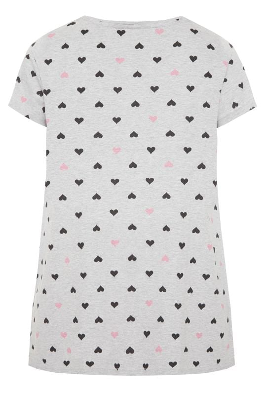 Grey Heart Print Pyjama Top