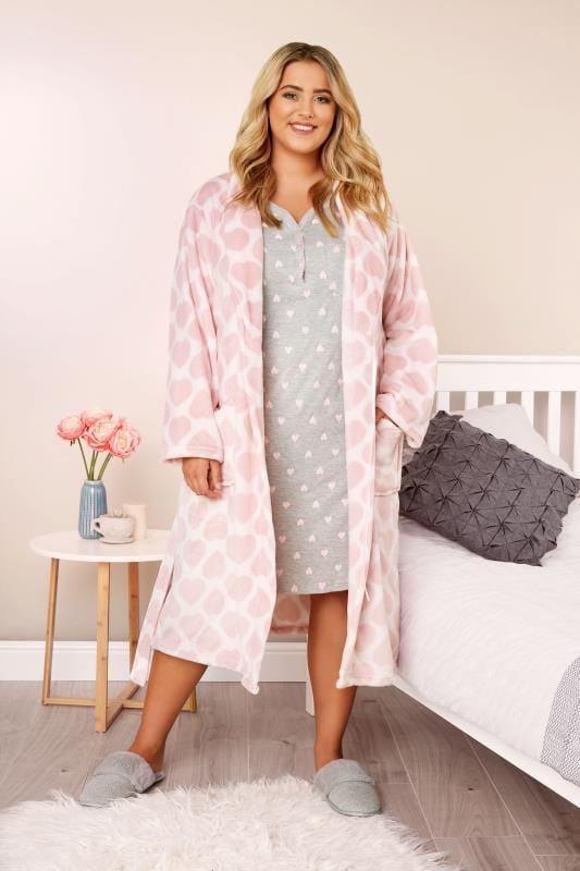 Morgenmantel mit Herz-Muster - Pink