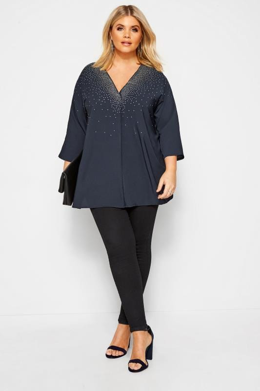 Plus Size Blouses & Shirts Navy Stud Embellished Chiffon Top