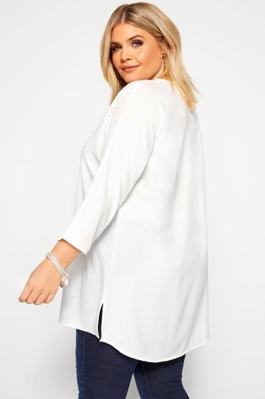White Stud Embellished Chiffon Top