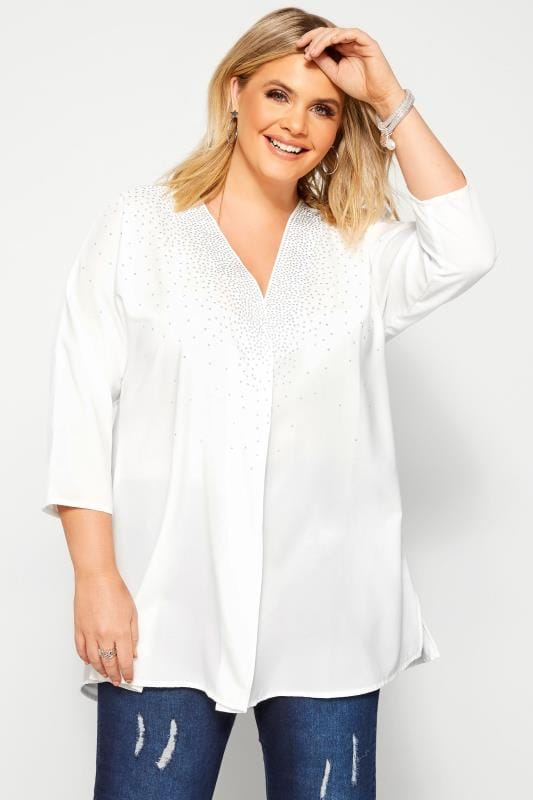 Plus Size Blouses & Shirts White Stud Embellished Chiffon Top