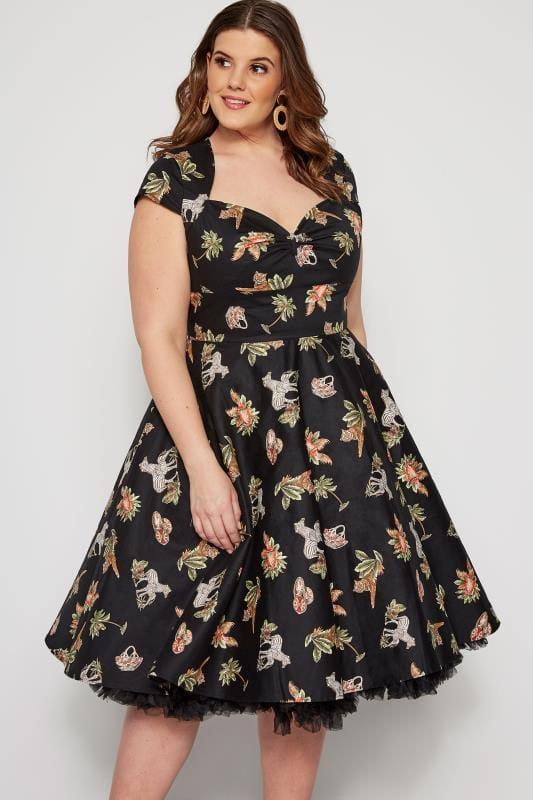 HELL BUNNY Black Animal Messina Dress