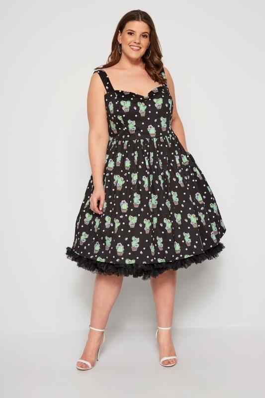 HELL BUNNY Black Cactus Dress