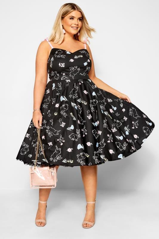 HELL BUNNY Black Floral Bunny Print 'Binky' Dress