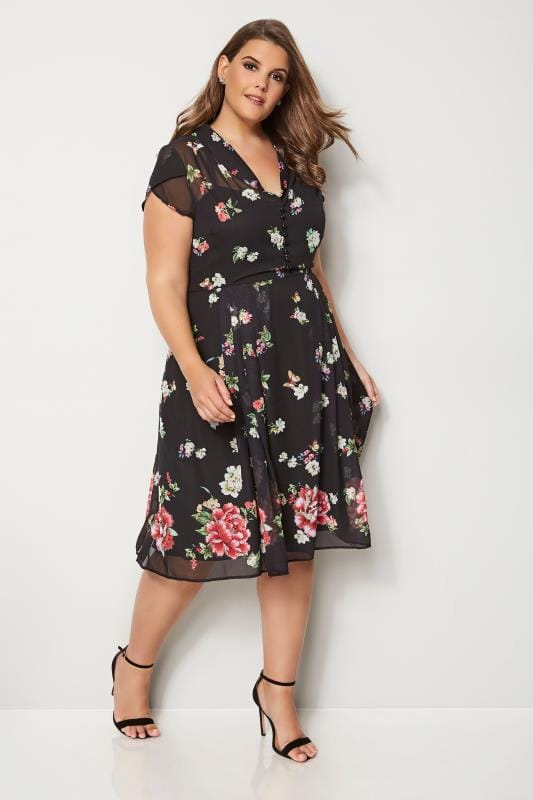 HELL BUNNY Black Floral Jolie Papillon Dress