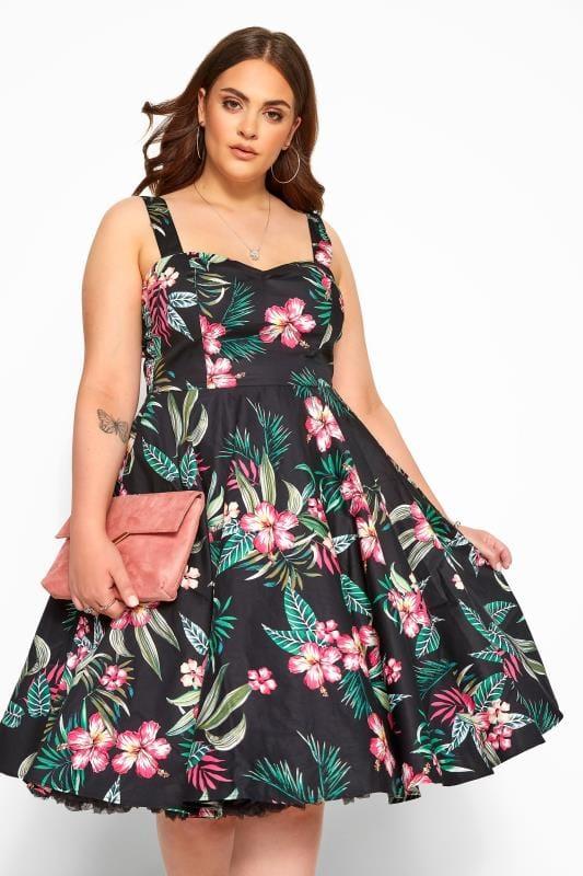 HELL BUNNY Black Floral 'Kalani' Skater Dress
