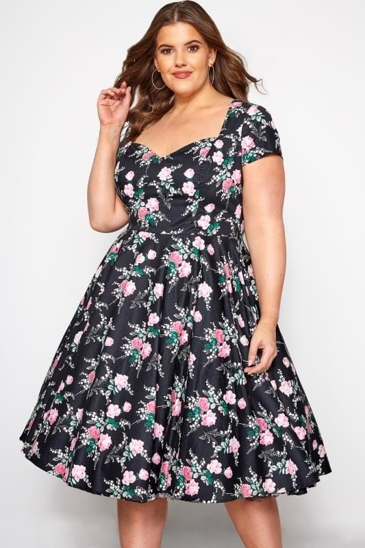 Plus Size Party Dresses HELL BUNNY Black Floral Lily Rose Skater Dress