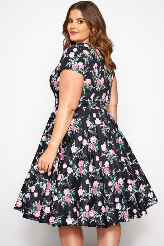 SIZES 10-22 LOOKING GLAM BLACK//MULTI FLORAL SWEETHEART 50s RETRO DRESS