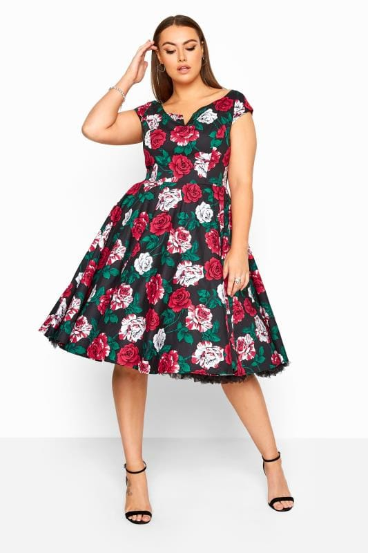 Plus Size Casual / Every Day HELL BUNNY Black Floral Print 'Ruby' Dress
