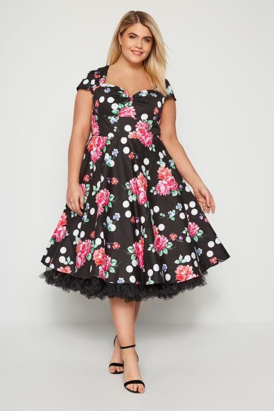 HELL BUNNY Black Floral & Spot Carole Dress