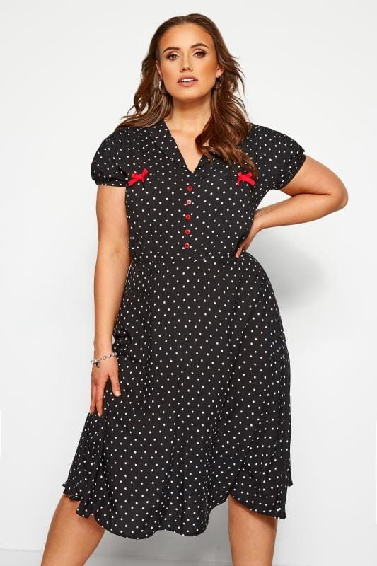 Plus Size Black Dresses HELL BUNNY Black Heart Print 'Allie' Midi Skater Dress