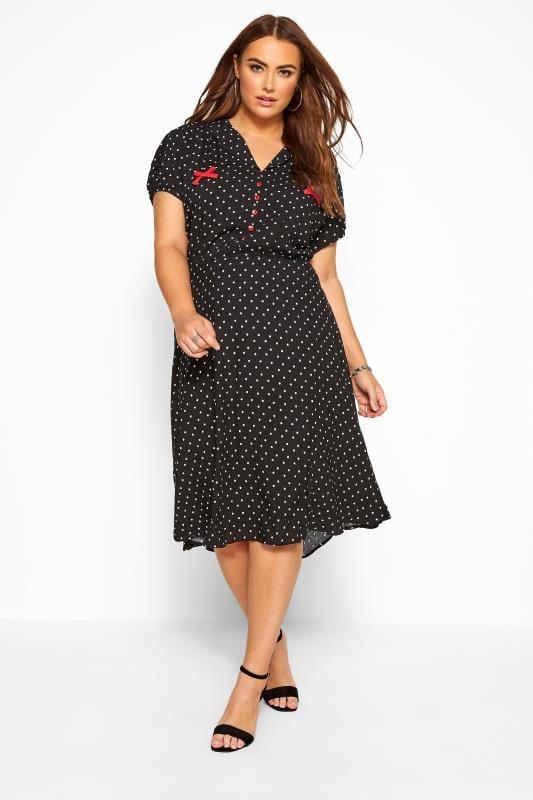 Beauty Tallas Grandes HELL BUNNY Black Heart Print 'Allie' Midi Skater Dress