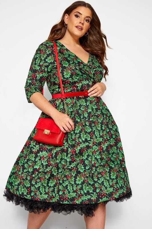 Robes Patineuses Grande Taille HELL BUNNY Black 'Holly Berry' Christmas Dress