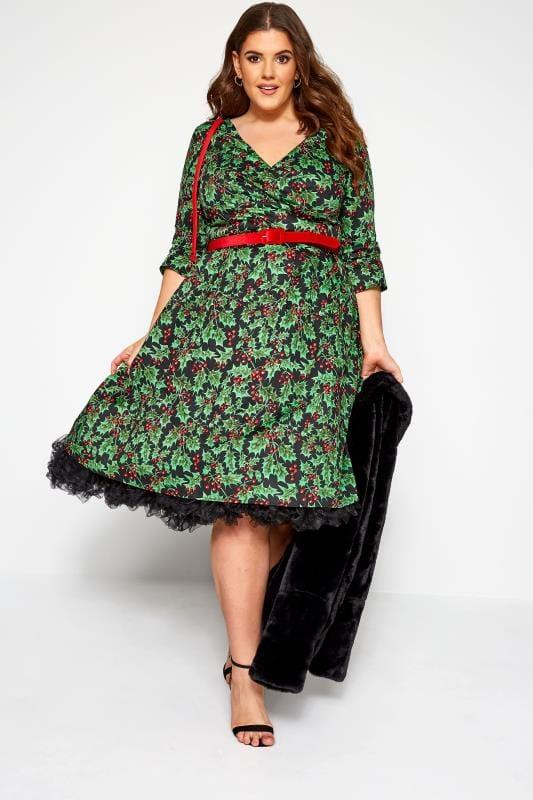 HELL BUNNY Black 'Holly Berry' Christmas Dress