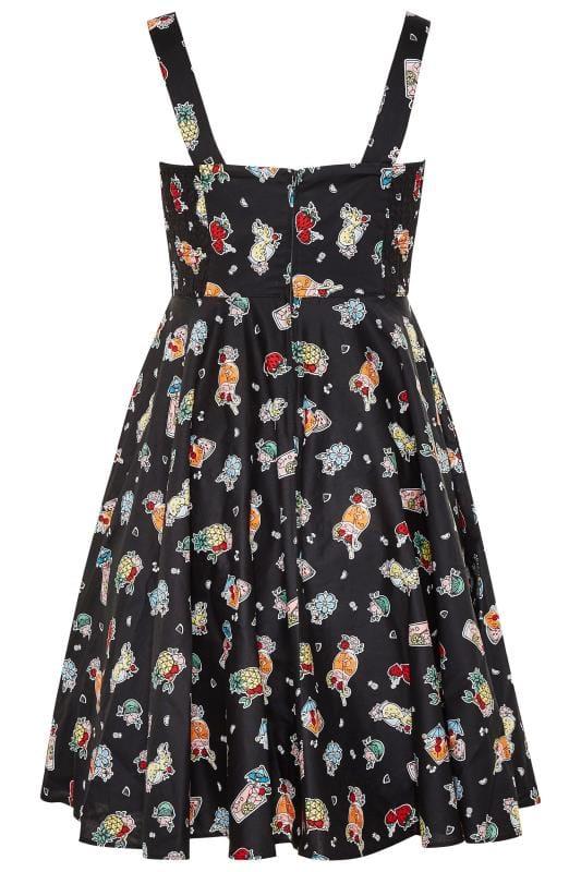 HELL BUNNY Black 'Pina Colada Tiki' Skater Dress