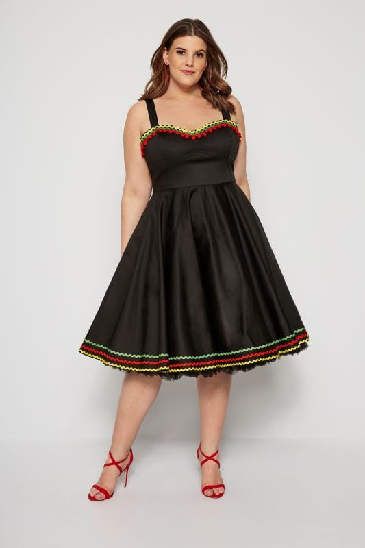 Plus Size Party Dresses HELL BUNNY Black Pom Trim Marianne Dress