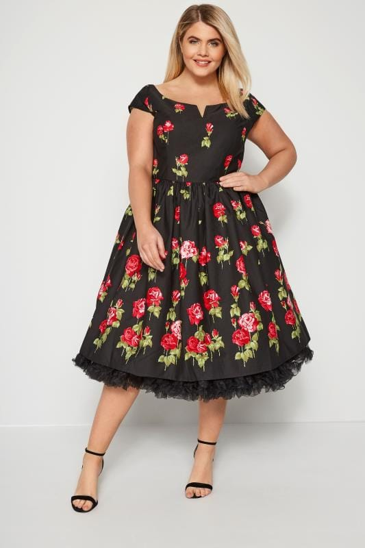 HELL BUNNY Black & Red Marlena Rose Dress