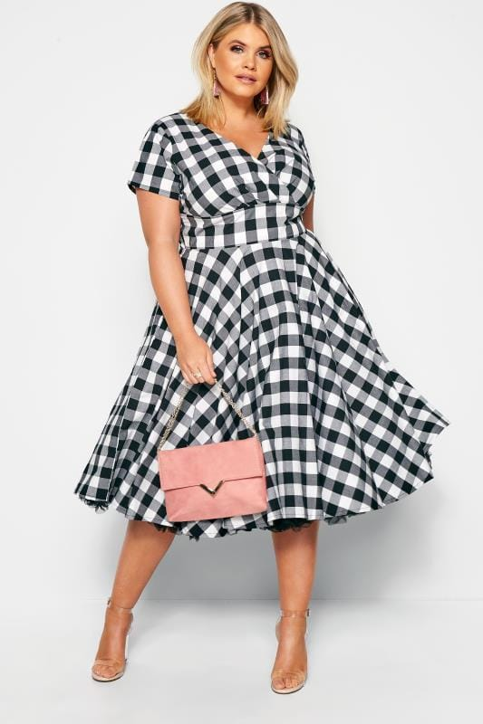 Skater Dresses Grande Taille HELL BUNNY Black & White Gingham 'Victorine' Dress