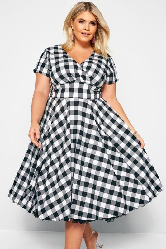 Skater Dresses dla puszystych HELL BUNNY Black & White Check 'Victorine' Dress
