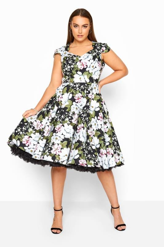 Plus Size Casual / Every Day HELL BUNNY Black & White Floral Print 'Alba' Skater Dress