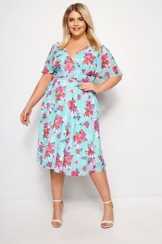 HELL BUNNY Blue Hibiscus Primavera Dress