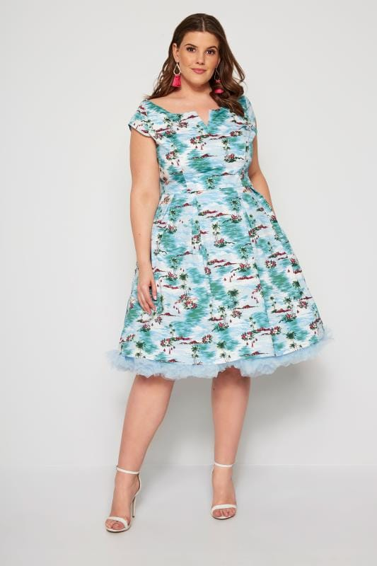 HELL BUNNY Blue Island Grace Bay Dress