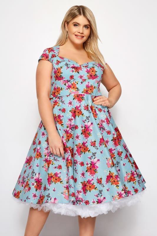 Plus Size Skater Dresses HELL BUNNY Blue Tropical Noemie Dress