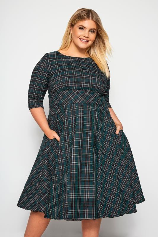 Plus Size Midi Dresses HELL BUNNY Dark Green 'Peebles' Tartan Dress