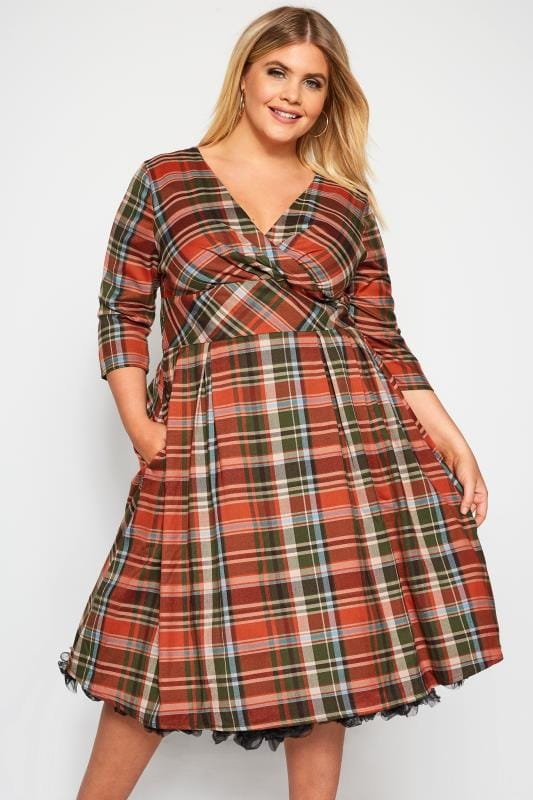 Plus Size Midi Dresses HELL BUNNY Orange Tartan Dress