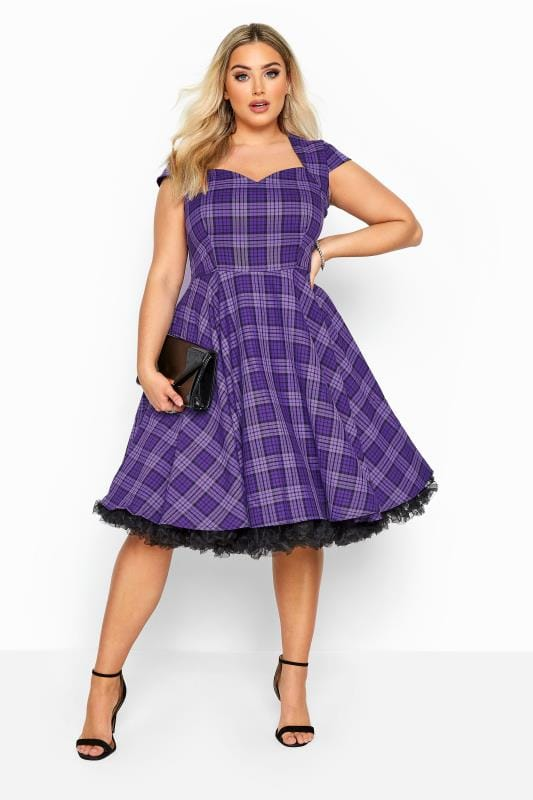 Plus Size Going Out Dresses HELL BUNNY Purple 'Kennedy' Check Skater Dress